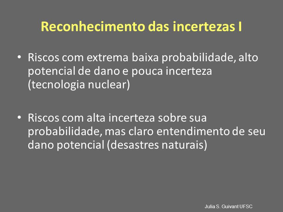 Reconhecimento das incertezas I Riscos com extrema baixa probabilidade, alto potencial de dano e pouca incerteza (tecnologia nuclear) Riscos com alta incerteza sobre sua probabilidade, mas claro entendimento de seu dano potencial (desastres naturais) Julia S.