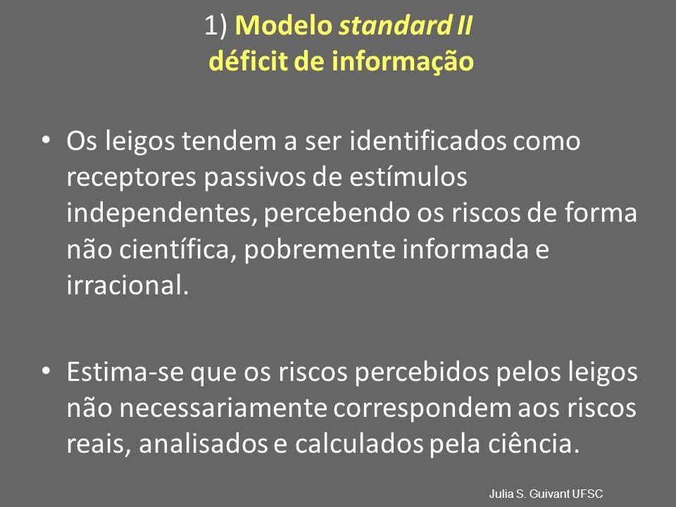 1) Modelo standard II déficit de informação Os leigos tendem a ser identificados como receptores passivos de estímulos independentes, percebendo os riscos de forma não científica, pobremente informada e irracional.