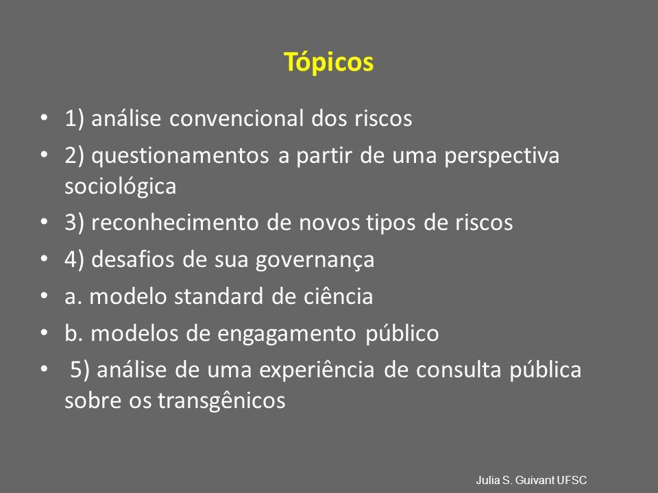 Tópicos 1) análise convencional dos riscos 2) questionamentos a partir de uma perspectiva sociológica 3) reconhecimento de novos tipos de riscos 4) desafios de sua governança a.