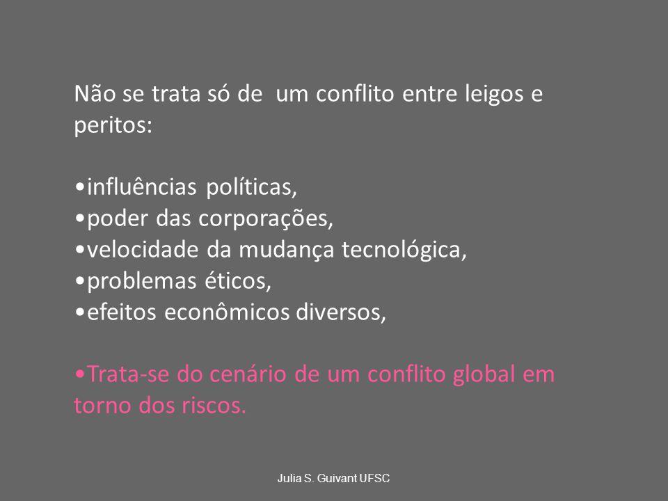 Não se trata só de um conflito entre leigos e peritos: influências políticas, poder das corporações, velocidade da mudança tecnológica, problemas éticos, efeitos econômicos diversos, Trata-se do cenário de um conflito global em torno dos riscos.