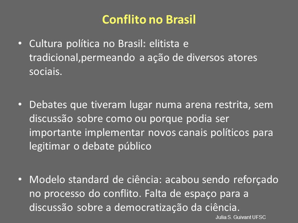 Conflito no Brasil Cultura política no Brasil: elitista e tradicional,permeando a ação de diversos atores sociais.