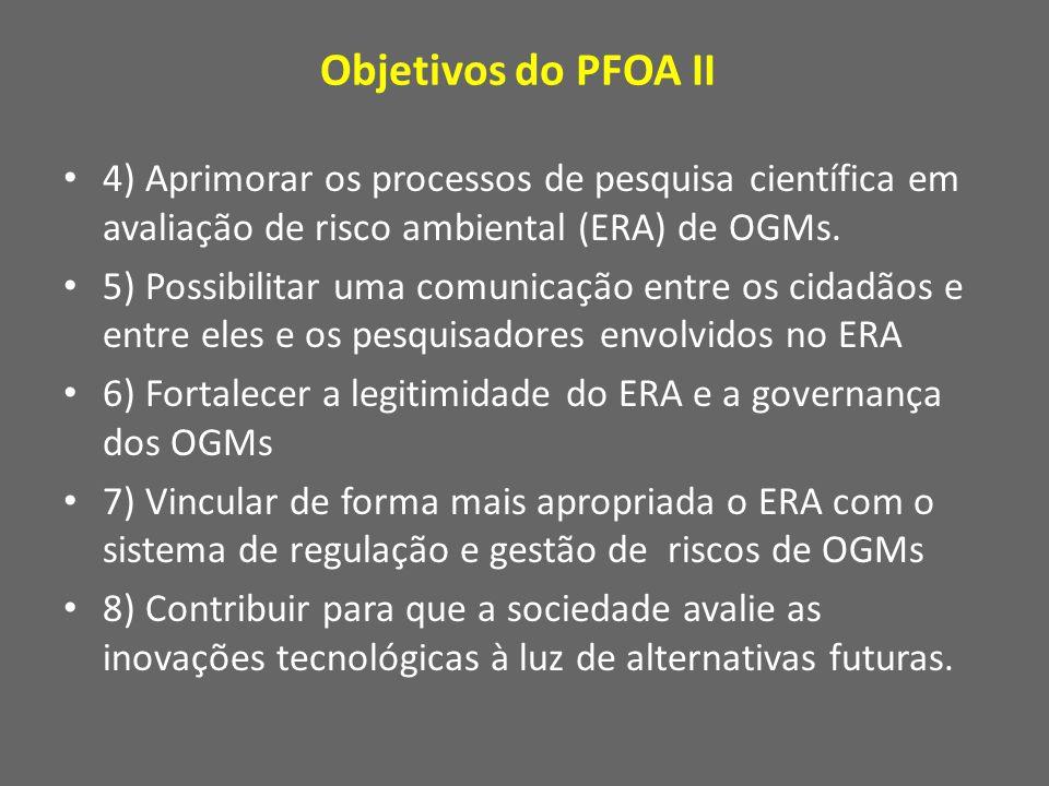 Objetivos do PFOA II 4) Aprimorar os processos de pesquisa científica em avaliação de risco ambiental (ERA) de OGMs.
