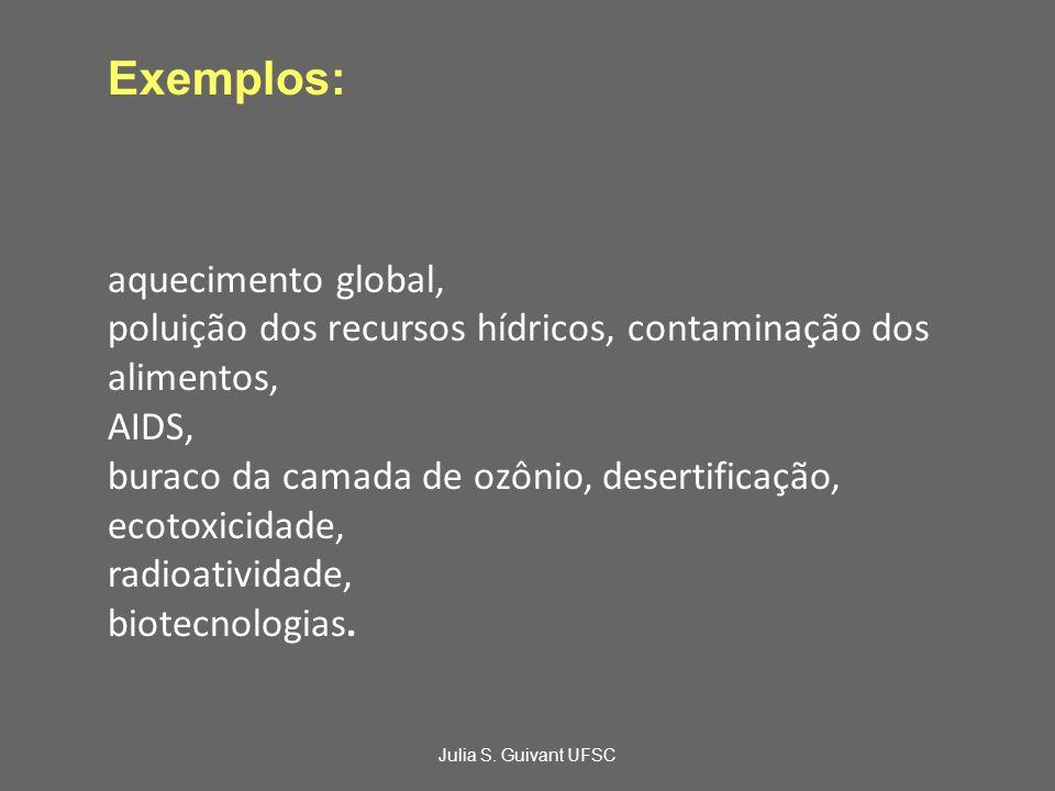 Exemplos: aquecimento global, poluição dos recursos hídricos, contaminação dos alimentos, AIDS, buraco da camada de ozônio, desertificação, ecotoxicidade, radioatividade, biotecnologias.