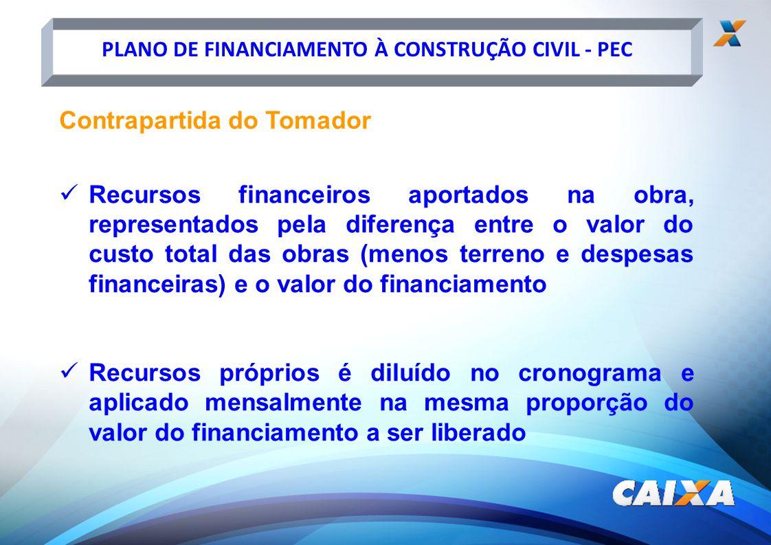PLANO DE FINANCIAMENTO À CONSTRUÇÃO CIVIL - PEC Contrapartida do Tomador Recursos financeiros aportados na obra, representados pela diferença entre o