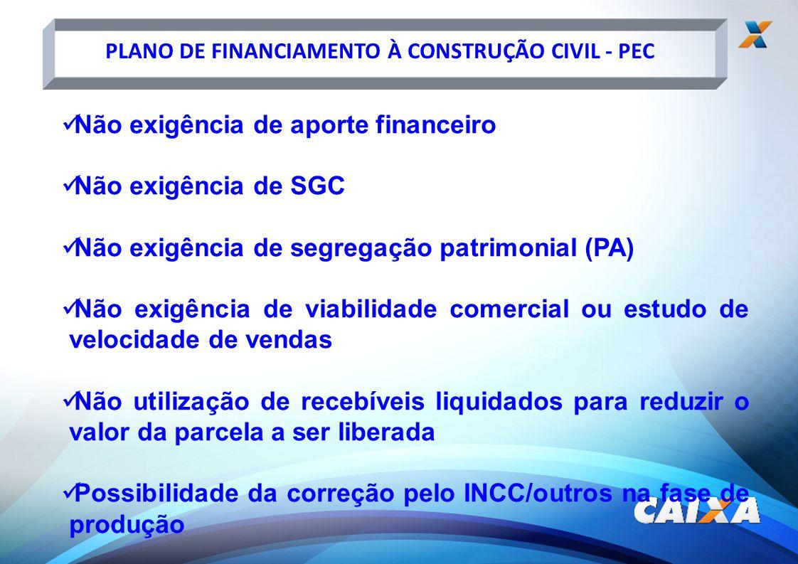 PLANO DE FINANCIAMENTO À CONSTRUÇÃO CIVIL - PEC Não exigência de aporte financeiro Não exigência de SGC Não exigência de segregação patrimonial (PA) N