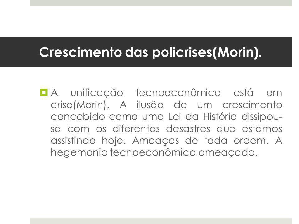 Crescimento das policrises(Morin).  A unificação tecnoeconômica está em crise(Morin).