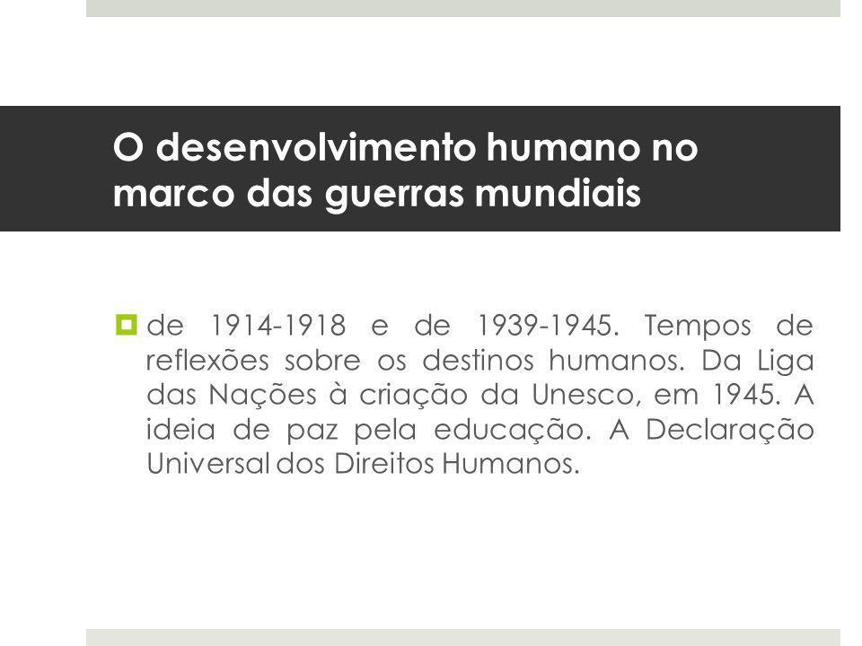 O desenvolvimento humano no marco das guerras mundiais  de 1914-1918 e de 1939-1945.