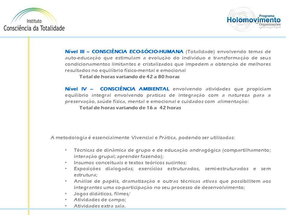 NÍVEL I - Desenvolvimento Comportamental Para que haja um maior, comprometimento com a consecução dos objetivos a serem atingidos na organização/empresa, serão utilizados Processos Vivenciais e Experimentais, baseando em conceitos de construção grupal e de autoconhecimento holonômico: a) Workshop de sensibilização e abertura do Programa onde estarão presentes todos os participantes: a liderança em todos os níveis: estratégico, gerencial e operacional – Secretários, Presidentes, Diretores, Gerentes e Supervisores.