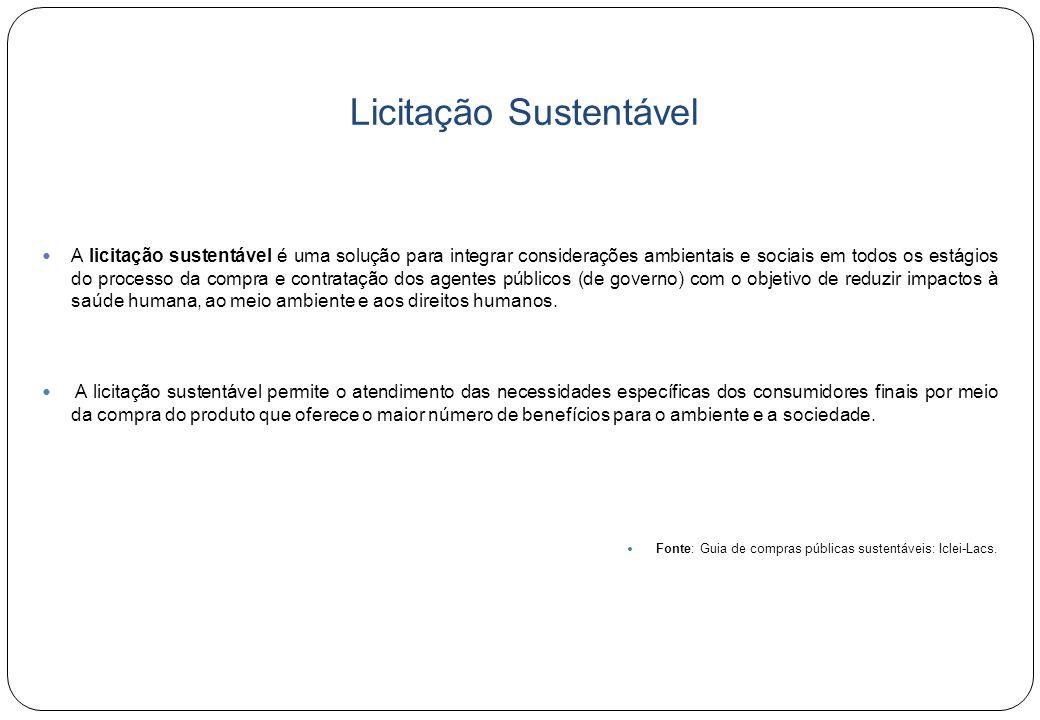 Licitações Sustentáveis: fundamentação legal  Acordos Internacionais ratificados  Acordo-Quadro sobre meio ambiente do Mercosul (2001)  Art.