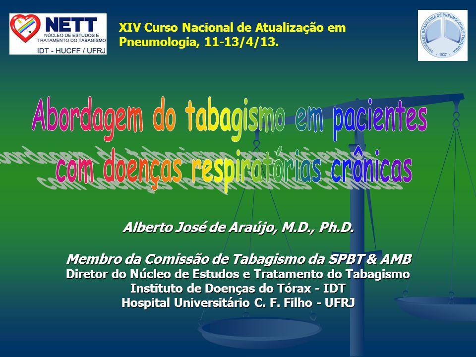 Alberto José de Araújo, M.D., Ph.D. Membro da Comissão de Tabagismo da SPBT & AMB Diretor do Núcleo de Estudos e Tratamento do Tabagismo Instituto de