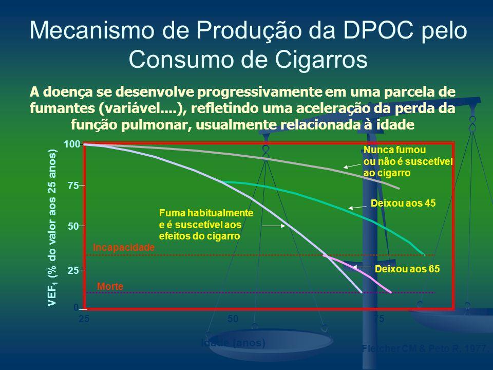 Fletcher CM & Peto R, 1977. A doença se desenvolve progressivamente em uma parcela de fumantes (variável....), refletindo uma aceleração da perda da f