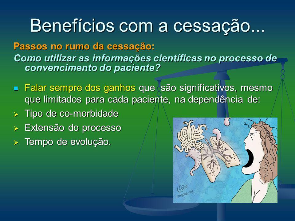 Passos no rumo da cessação: Como utilizar as informações científicas no processo de convencimento do paciente? Falar sempre dos ganhos que são signifi