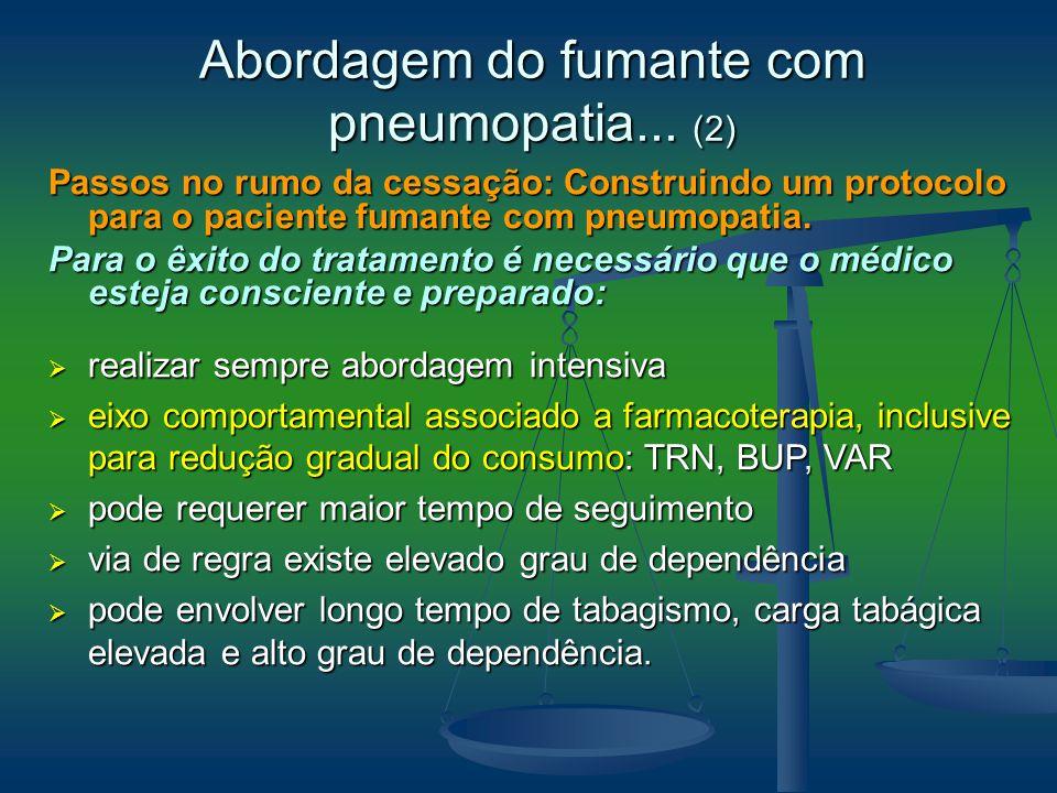 Passos no rumo da cessação: Construindo um protocolo para o paciente fumante com pneumopatia. Para o êxito do tratamento é necessário que o médico est