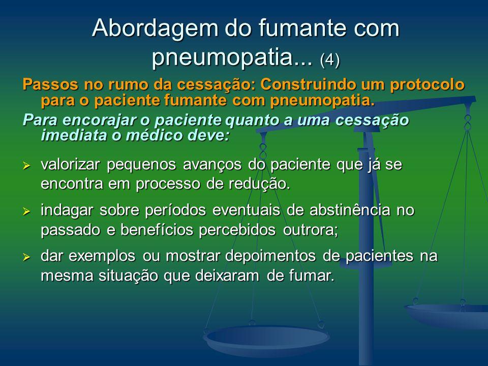 Passos no rumo da cessação: Construindo um protocolo para o paciente fumante com pneumopatia. Para encorajar o paciente quanto a uma cessação imediata