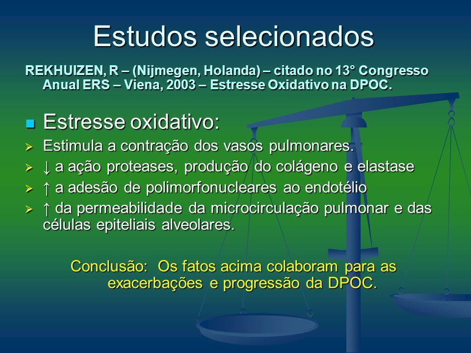REKHUIZEN, R – (Nijmegen, Holanda) – citado no 13° Congresso Anual ERS – Viena, 2003 – Estresse Oxidativo na DPOC. Estresse oxidativo: Estresse oxidat