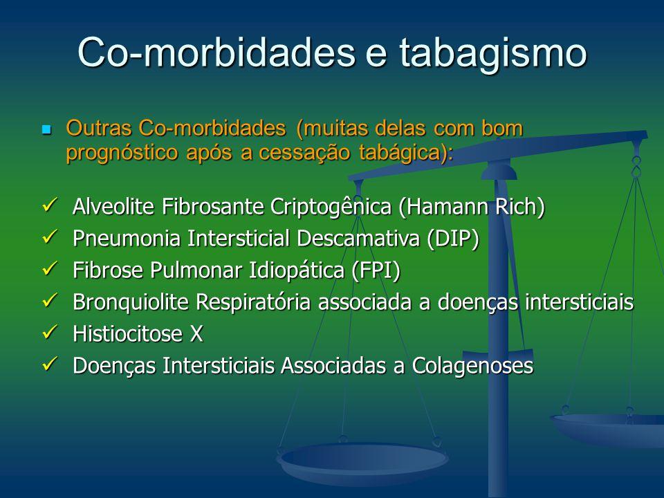 Co-morbidades e tabagismo Outras Co-morbidades (muitas delas com bom prognóstico após a cessação tabágica): Outras Co-morbidades (muitas delas com bom