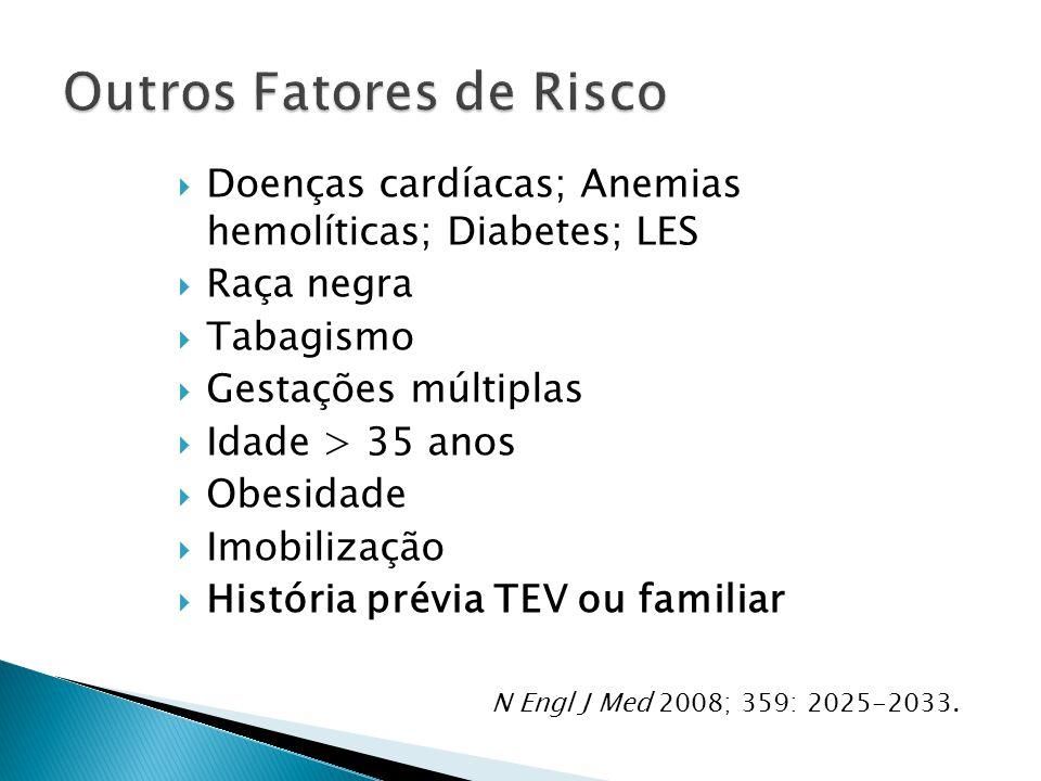  Doenças cardíacas; Anemias hemolíticas; Diabetes; LES  Raça negra  Tabagismo  Gestações múltiplas  Idade > 35 anos  Obesidade  Imobilização  História prévia TEV ou familiar N Engl J Med 2008; 359: 2025-2033.