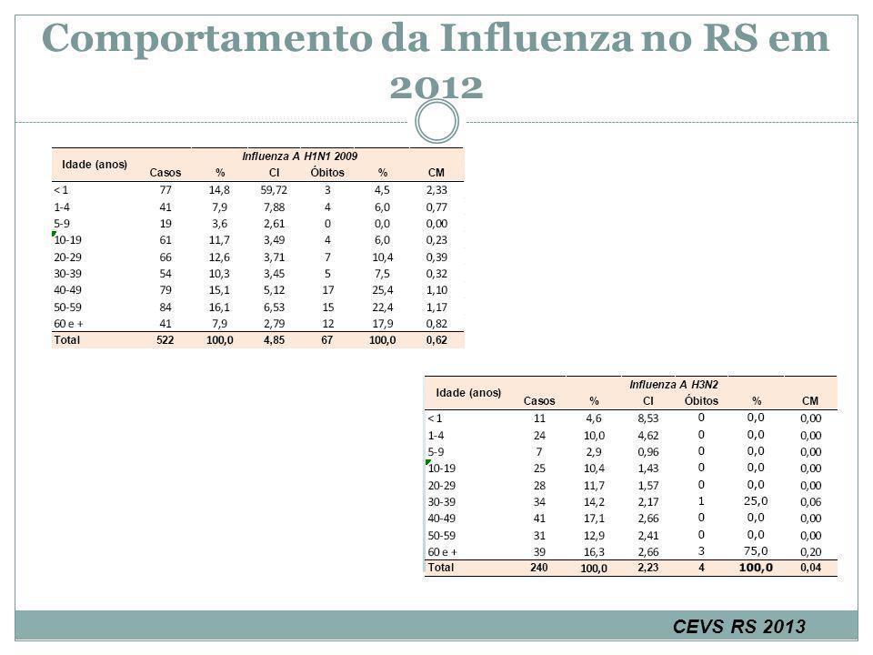 Comportamento da Influenza no RS em 2012 CEVS RS 2013