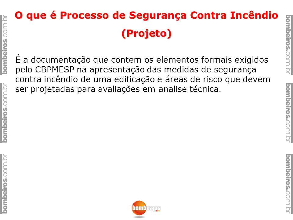 O que é Processo de Segurança Contra Incêndio (Projeto) É a documentação que contem os elementos formais exigidos pelo CBPMESP na apresentação das med
