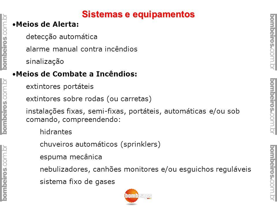 Sistemas e equipamentos Meios de Alerta: detecção automática alarme manual contra incêndios sinalização Meios de Combate a Incêndios: extintores portá