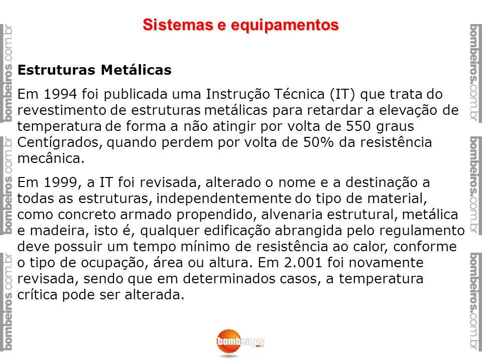 Sistemas e equipamentos Estruturas Metálicas Em 1994 foi publicada uma Instrução Técnica (IT) que trata do revestimento de estruturas metálicas para r