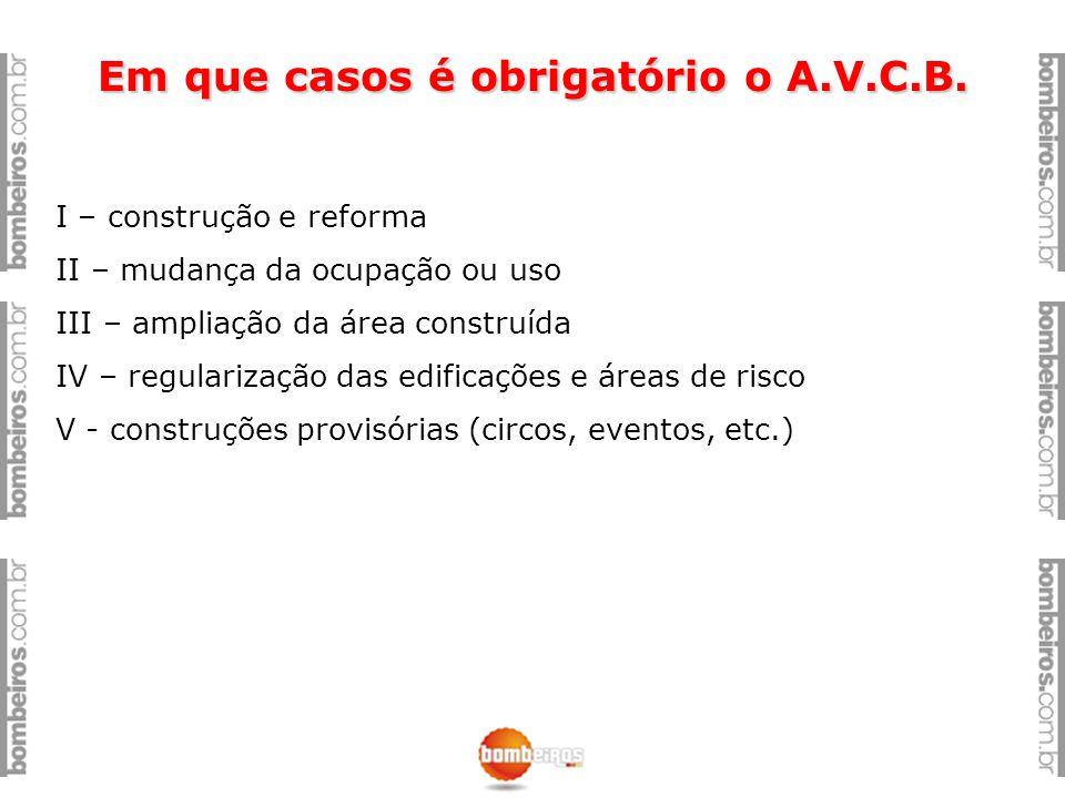 Em que casos é obrigatório o A.V.C.B. I – construção e reforma II – mudança da ocupação ou uso III – ampliação da área construída IV – regularização d