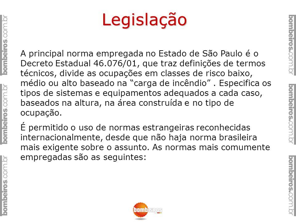 Legislação A principal norma empregada no Estado de São Paulo é o Decreto Estadual 46.076/01, que traz definições de termos técnicos, divide as ocupaç