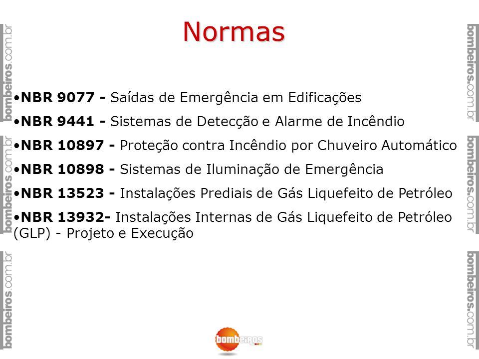 Normas NBR 9077 - Saídas de Emergência em Edificações NBR 9441 - Sistemas de Detecção e Alarme de Incêndio NBR 10897 - Proteção contra Incêndio por Ch