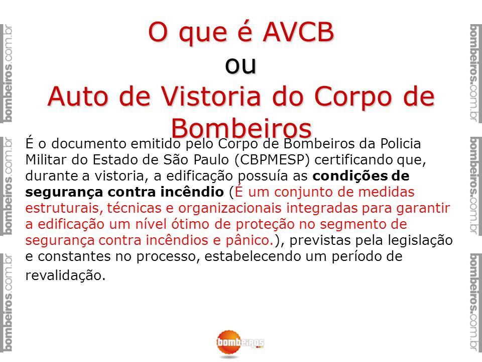 O que é AVCB ou Auto de Vistoria do Corpo de Bombeiros É o documento emitido pelo Corpo de Bombeiros da Policia Militar do Estado de São Paulo (CBPMES