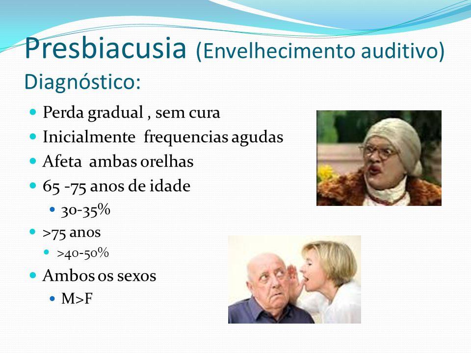 Presbiacusia (Envelhecimento auditivo) Diagnóstico: Perda gradual, sem cura Inicialmente frequencias agudas Afeta ambas orelhas 65 -75 anos de idade 30-35% >75 anos >40-50% Ambos os sexos M>F