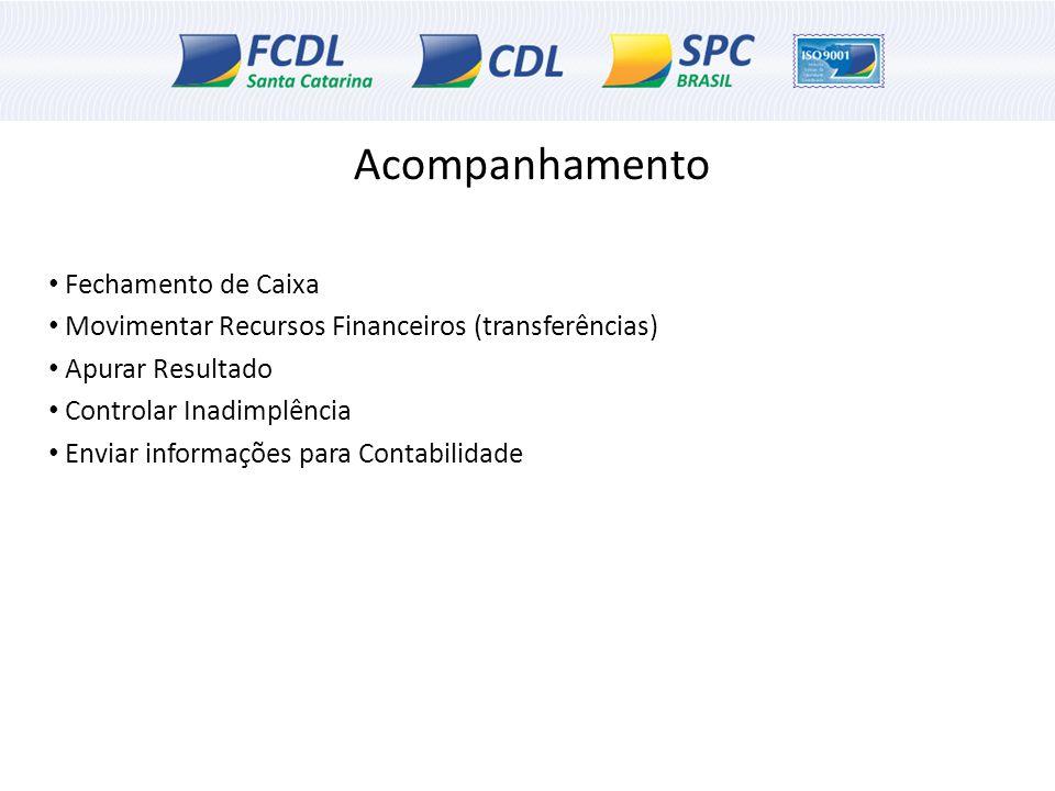 Acompanhamento Fechamento de Caixa Movimentar Recursos Financeiros (transferências) Apurar Resultado Controlar Inadimplência Enviar informações para C