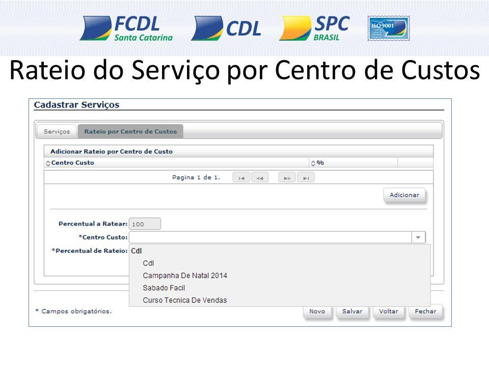 Rateio do Serviço por Centro de Custos