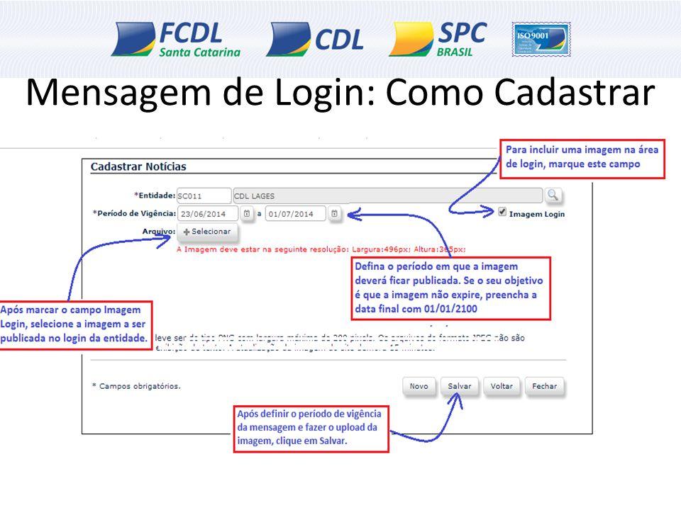 Mensagem de Login: Como Cadastrar