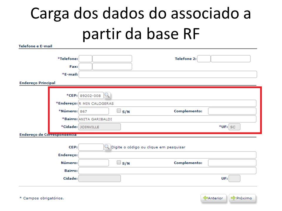 Carga dos dados do associado a partir da base RF