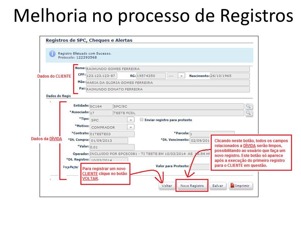Melhoria no processo de Registros
