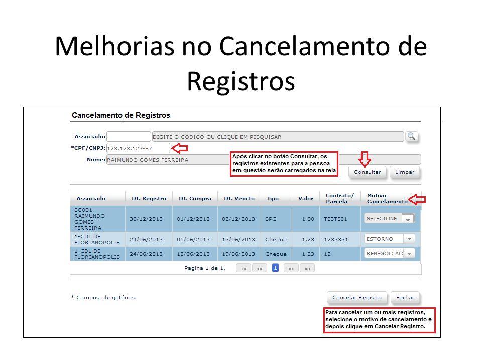 Melhorias no Cancelamento de Registros
