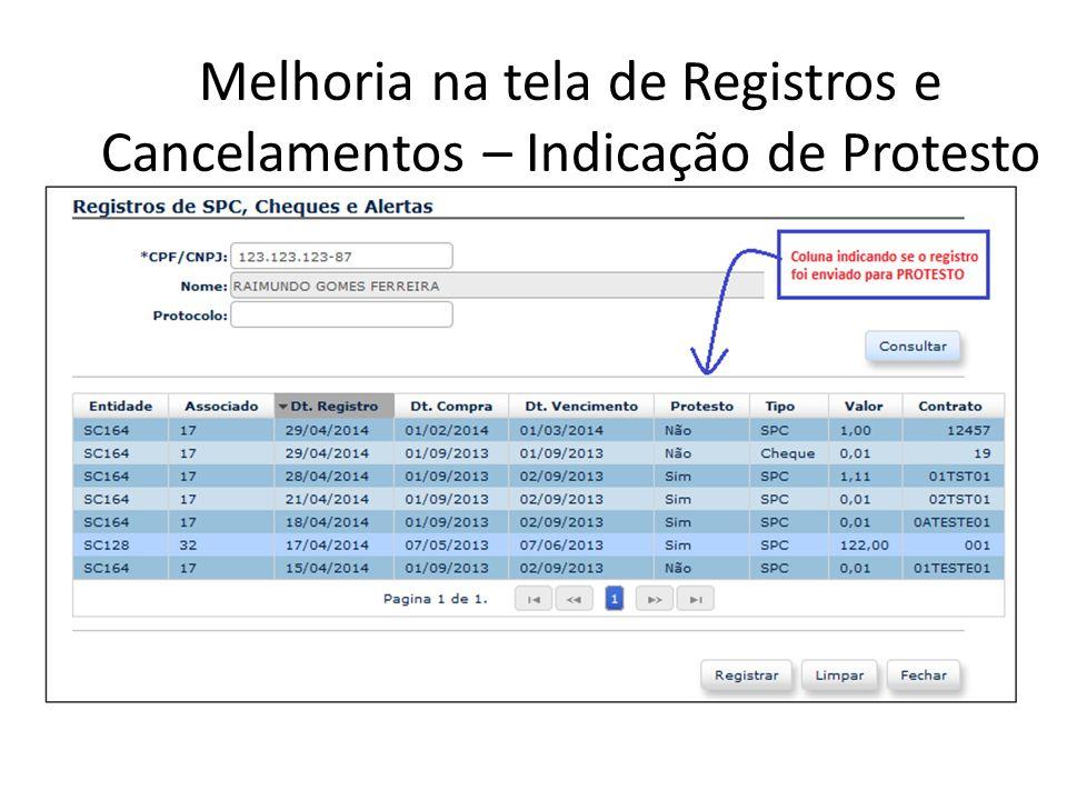 Melhoria na tela de Registros e Cancelamentos – Indicação de Protesto