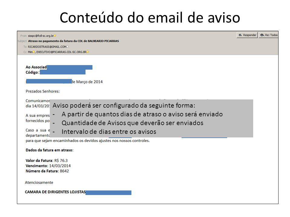 Conteúdo do email de aviso Aviso poderá ser configurado da seguinte forma: -A partir de quantos dias de atraso o aviso será enviado -Quantidade de Avi
