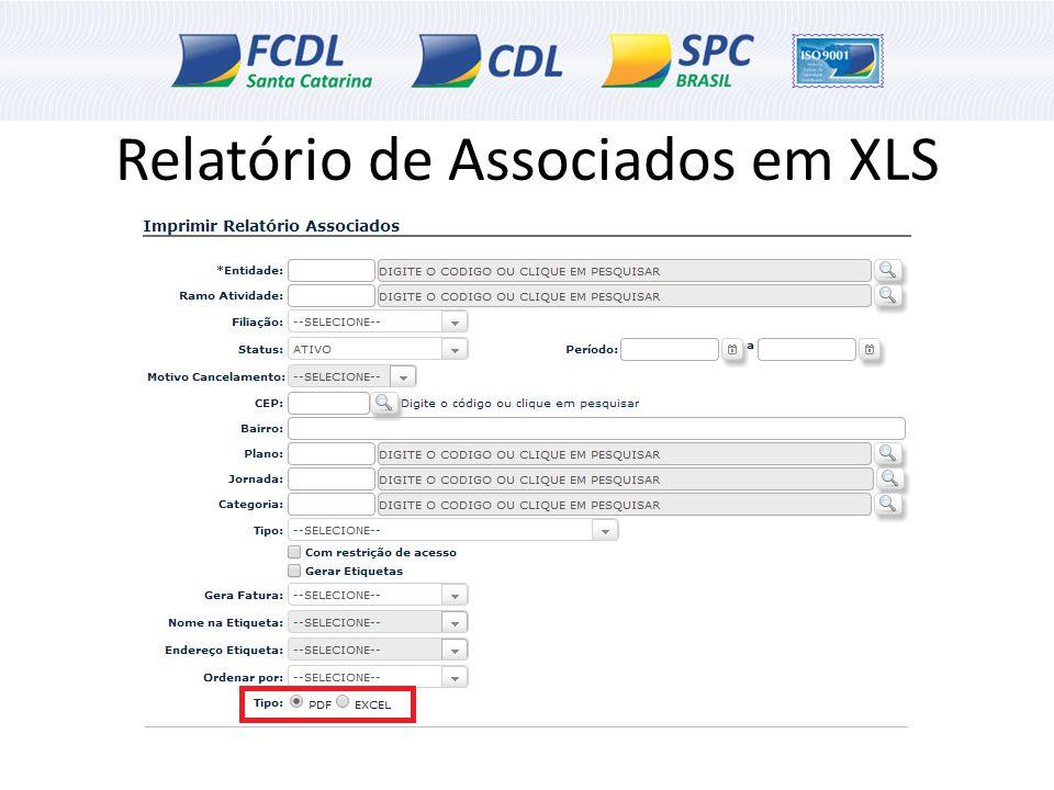 Relatório de Associados em XLS