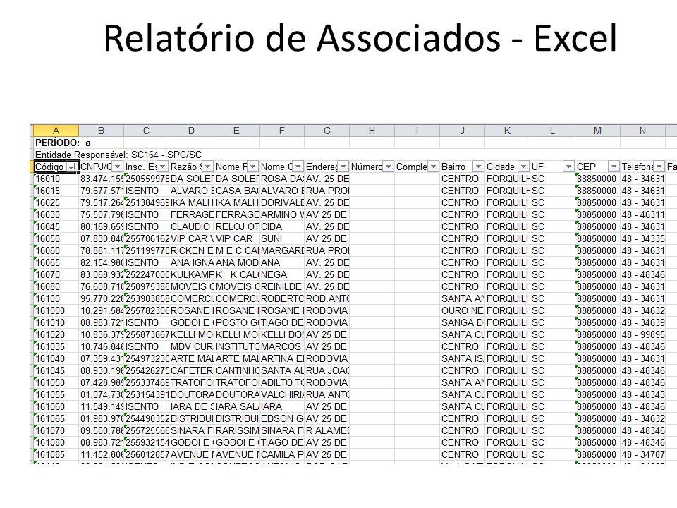 Relatório de Associados - Excel
