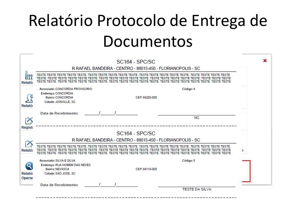 Relatório Protocolo de Entrega de Documentos