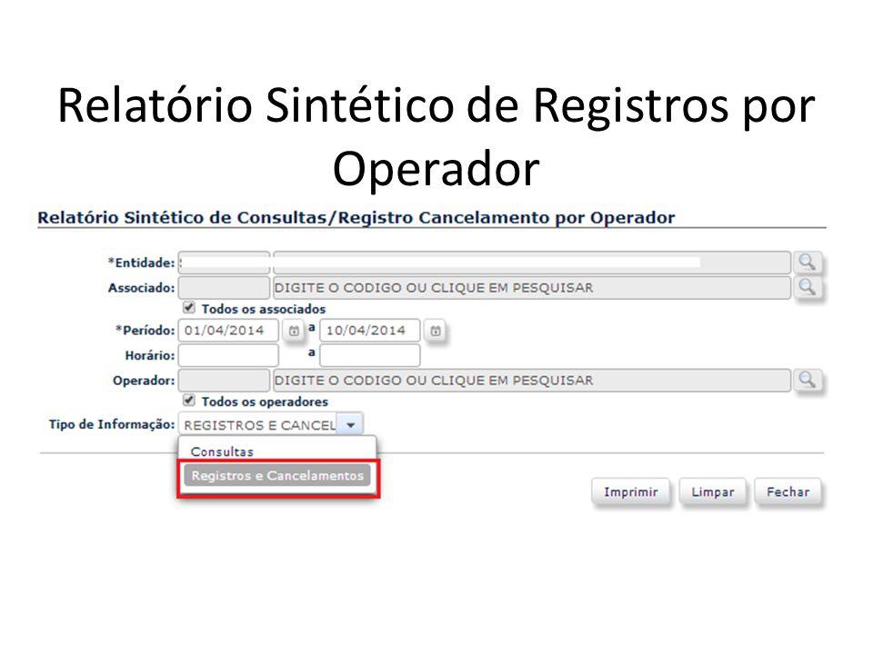 Relatório Sintético de Registros por Operador