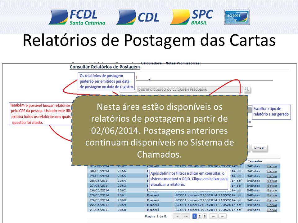 Relatórios de Postagem das Cartas Nesta área estão disponíveis os relatórios de postagem a partir de 02/06/2014. Postagens anteriores continuam dispon