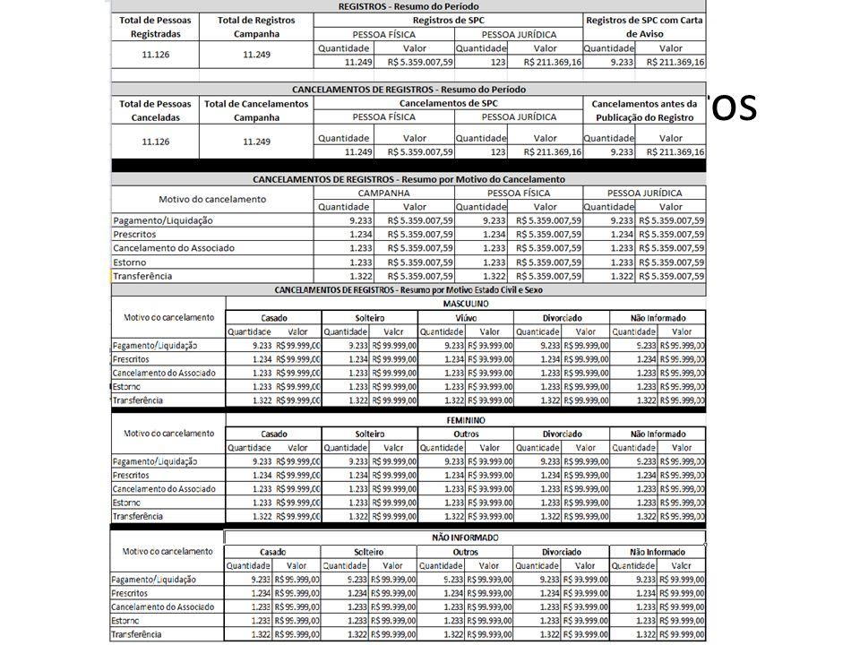 Relatório Estatístico - Registros