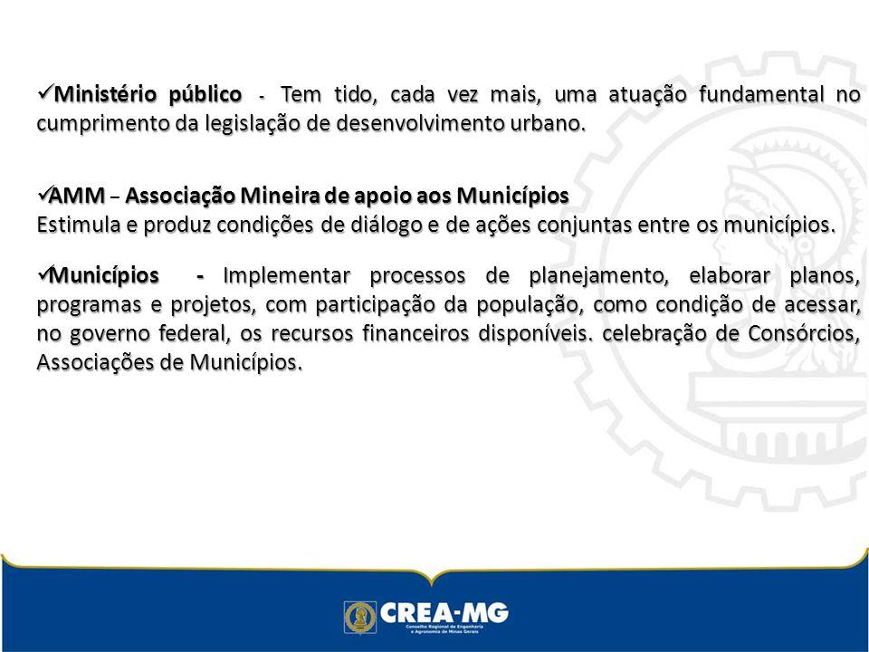 Ministério público - Tem tido, cada vez mais, uma atuação fundamental no cumprimento da legislação de desenvolvimento urbano.