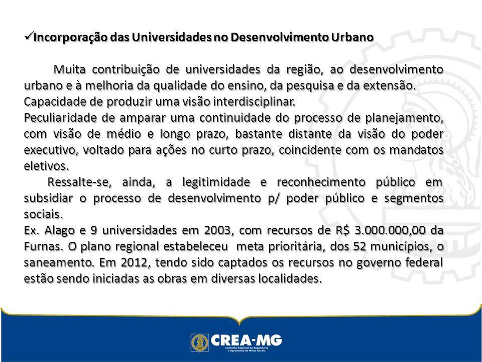 Incorporação das Universidades no Desenvolvimento Urbano Incorporação das Universidades no Desenvolvimento Urbano Muita contribuição de universidades da região, ao desenvolvimento urbano e à melhoria da qualidade do ensino, da pesquisa e da extensão.