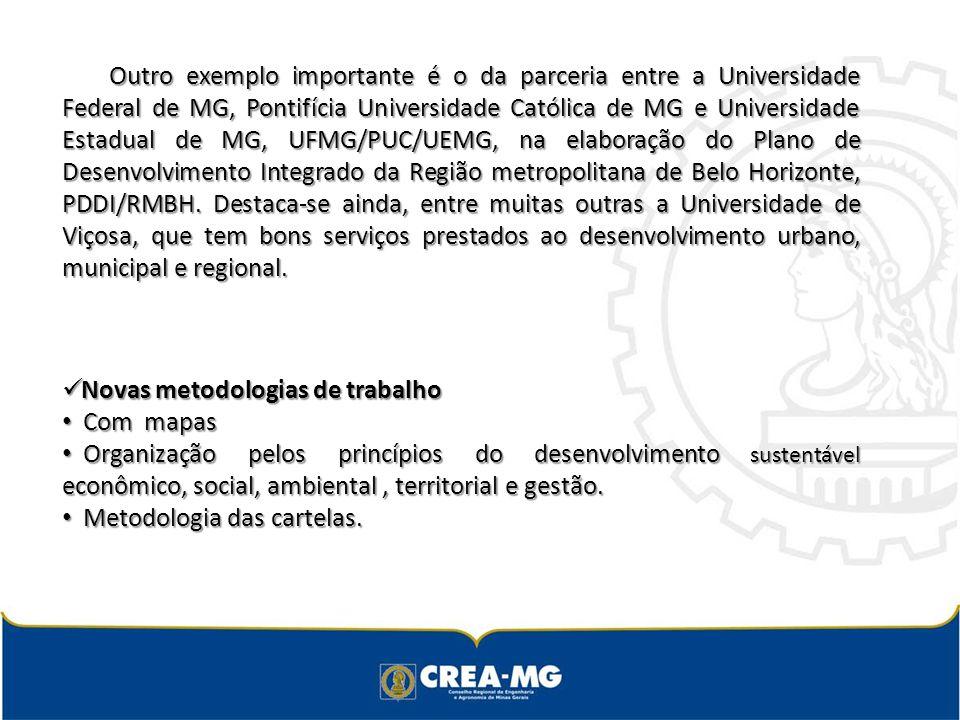 Outro exemplo importante é o da parceria entre a Universidade Federal de MG, Pontifícia Universidade Católica de MG e Universidade Estadual de MG, UFMG/PUC/UEMG, na elaboração do Plano de Desenvolvimento Integrado da Região metropolitana de Belo Horizonte, PDDI/RMBH.