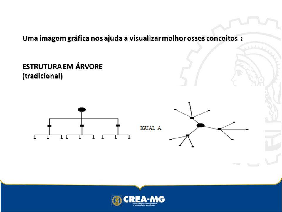 Uma imagem gráfica nos ajuda a visualizar melhor esses conceitos : ESTRUTURA EM ÁRVORE (tradicional) ESTRUTURA EM ÁRVORE (tradicional)