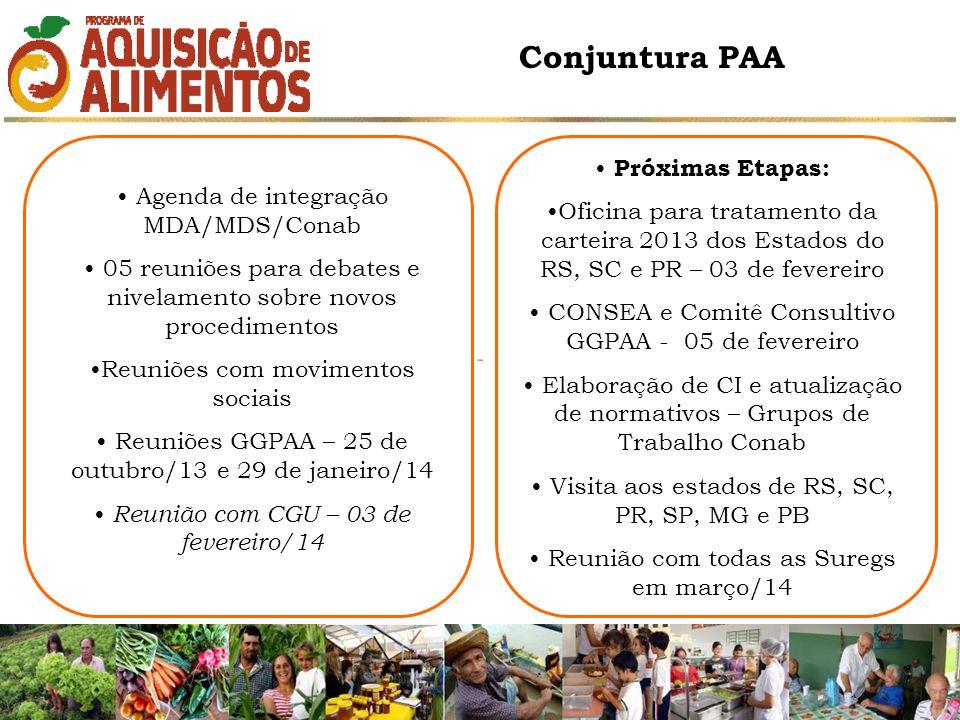 Agenda de integração MDA/MDS/Conab 05 reuniões para debates e nivelamento sobre novos procedimentos Reuniões com movimentos sociais Reuniões GGPAA – 25 de outubro/13 e 29 de janeiro/14 Reunião com CGU – 03 de fevereiro/14 Próximas Etapas: Oficina para tratamento da carteira 2013 dos Estados do RS, SC e PR – 03 de fevereiro CONSEA e Comitê Consultivo GGPAA - 05 de fevereiro Elaboração de CI e atualização de normativos – Grupos de Trabalho Conab Visita aos estados de RS, SC, PR, SP, MG e PB Reunião com todas as Suregs em março/14 Conjuntura PAA