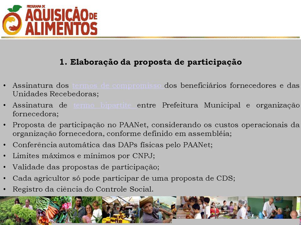 1. Elaboração da proposta de participação Assinatura dos termos de compromisso dos beneficiários fornecedores e das Unidades Recebedoras;termos de com